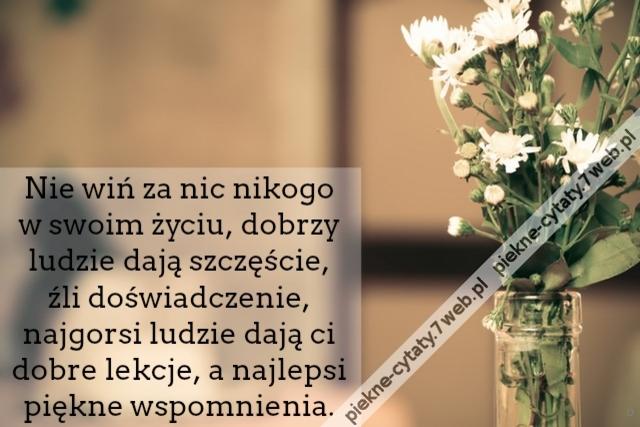 Piękne Cytaty Nie Wiń Za Nic Nikogo W Swoim życiu Dobrzy